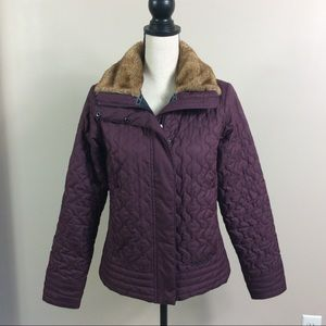 Marmot Quilted Faux Fur Collar Puffer Jacket Sz M